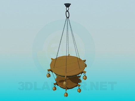 3d моделирование Двухярусная люстра для таверны модель скачать бесплатно