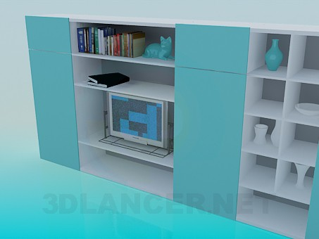 3d model Bookcase in the living room - preview