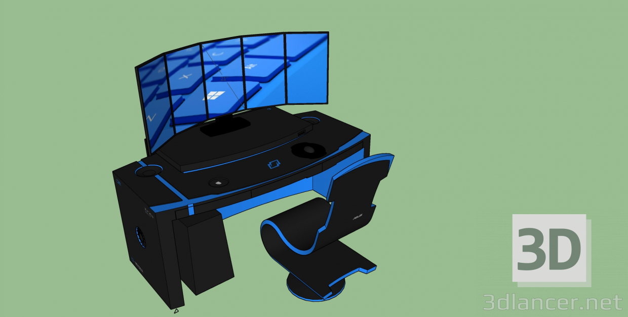 3d model gaming chair - preview