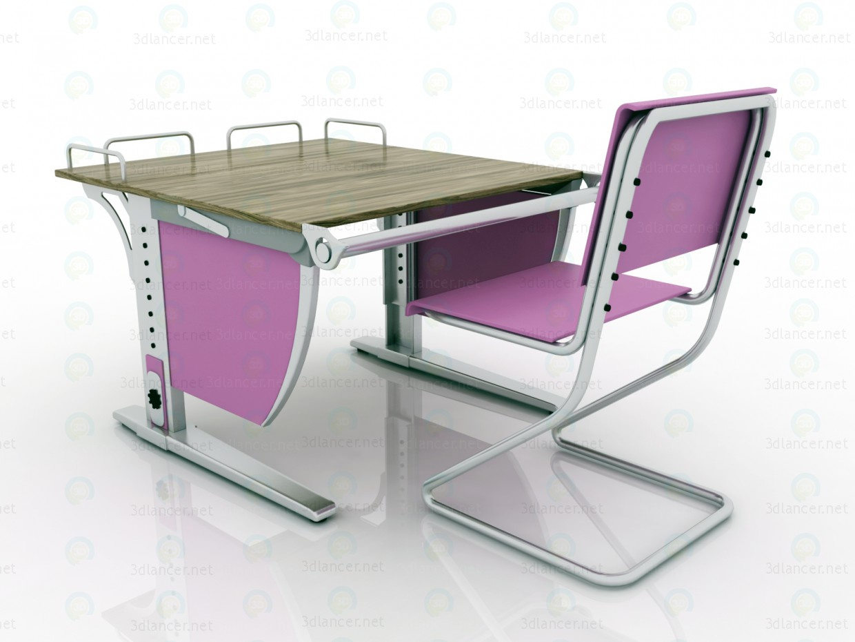 """LIBAO LB-D05 """"Зростаюча"""" парта і """"зростаючий"""" стілець 3d модель купити - рендер"""