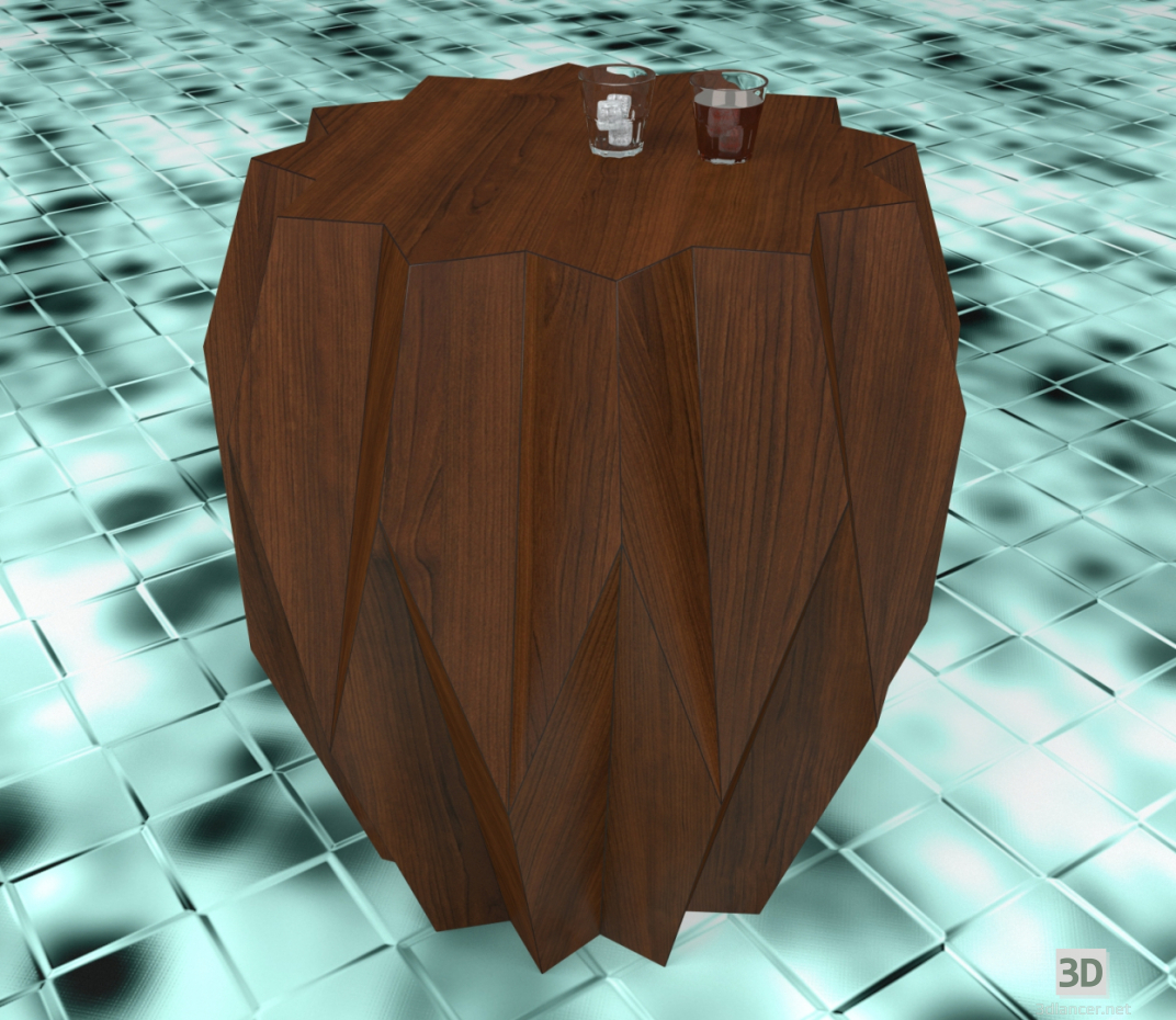 3d Side table with glasses model buy - render