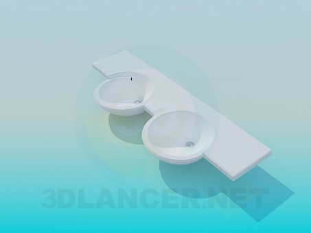 3d modeling Double wash basin model free download