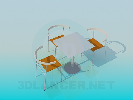 3d modeling Table and chairs for Cafe model free download