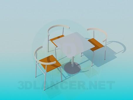 descarga gratuita de 3D modelado modelo Mesa y sillas para Cafe