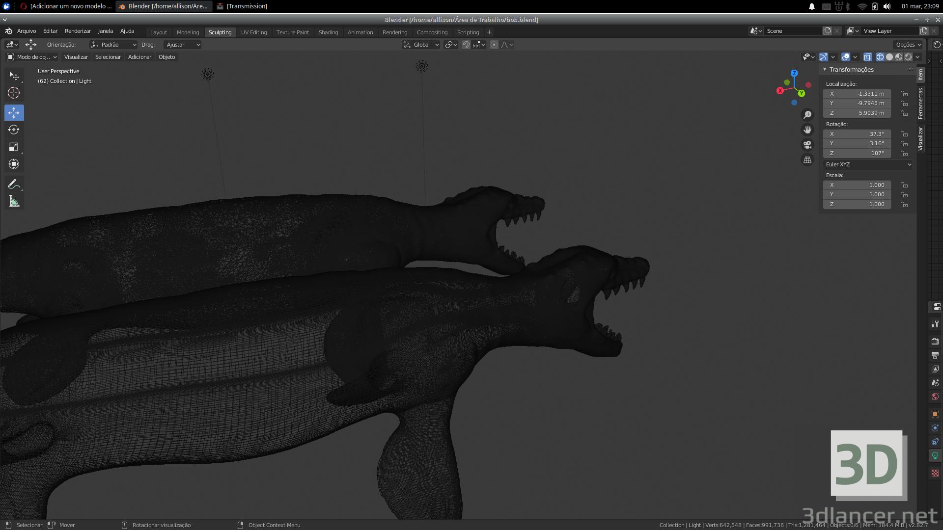 3 डी मोसासौर-प्रेरित जल राक्षस मॉडल खरीद - रेंडर