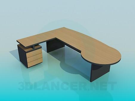3d модель Большой угловой рабочий стол – превью