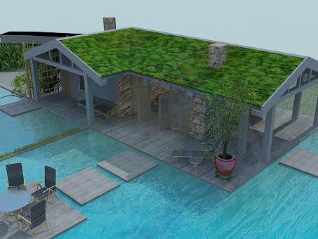 Modelo 3d casa con piscina en estilo minimalismo id 2364 for Piscina 3d