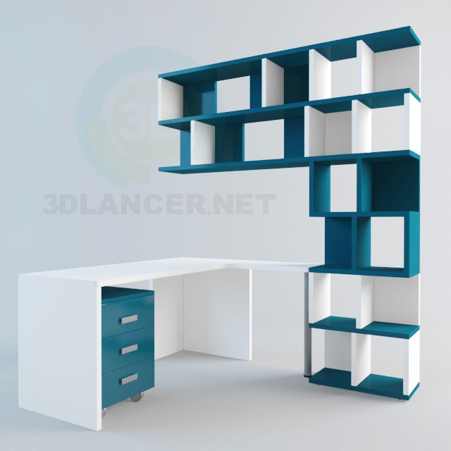3d модель Стіл і полички – превью