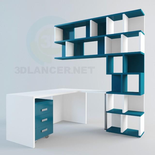 modelo 3D Escritorio y estanterias - escuchar