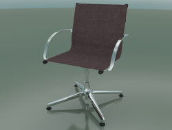 Swivel chair with armrests on 4 legs, with fabric upholstery (1202)