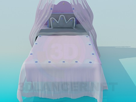 3d model Bed with canopy for girl - preview