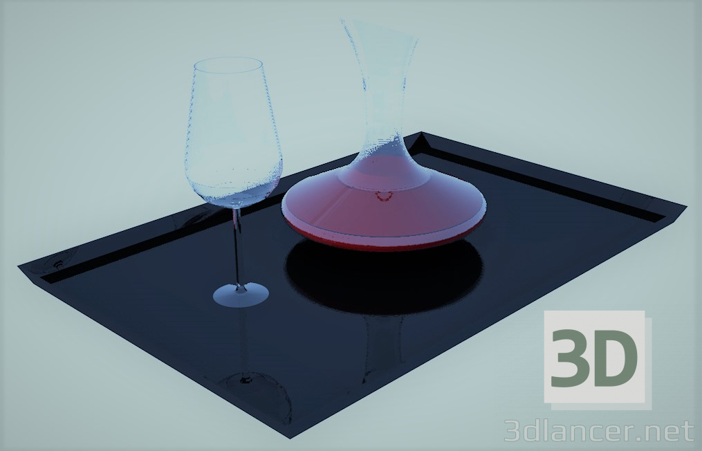 3d model glass with carafe - preview