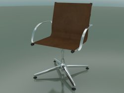 Swivel chair with armrests on 4 legs, with leather upholstery (1202)
