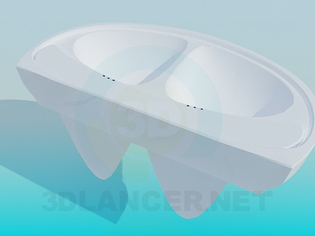 modelo 3D Doble lavabo - escuchar