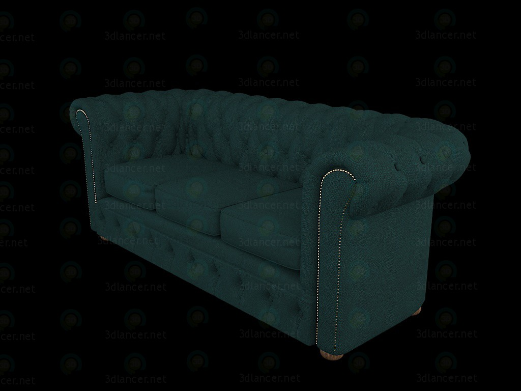 Chesterfield sofá serpiente 3D modelo Compro - render