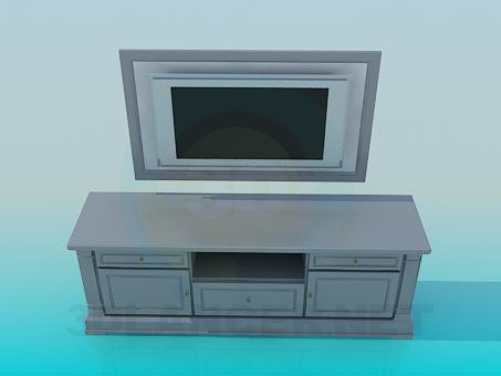 3d model TV table - preview