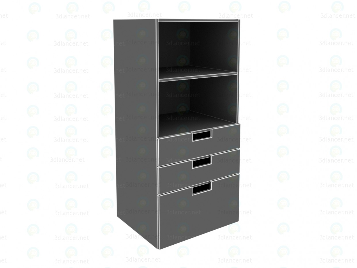 3d model Ikea STUVA Bookcase with drawers, white, pink - preview