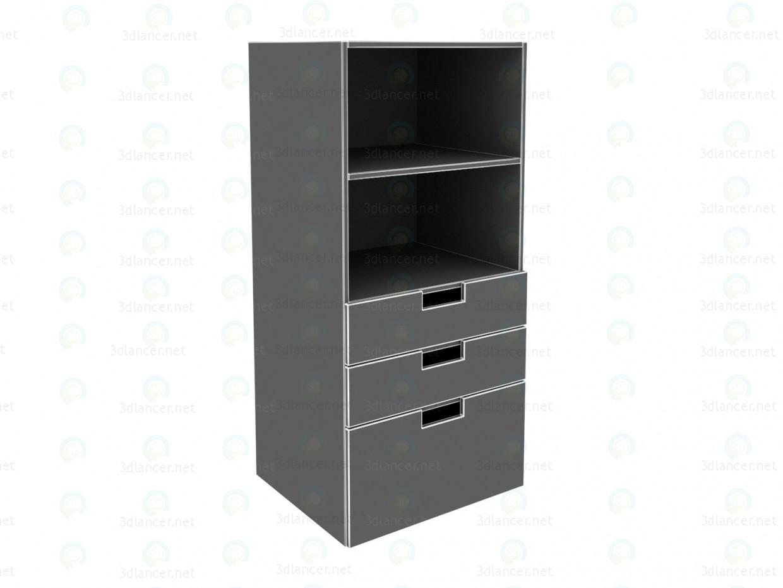 modelo 3D Librería de STUVA de IKEA con cajones, blanco, rosa - escuchar