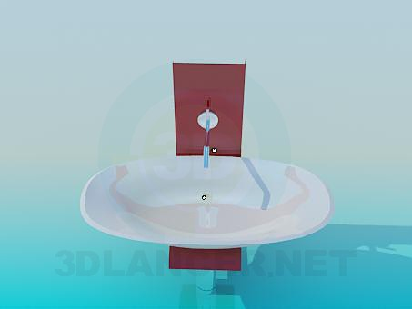3d model Wide basin - preview