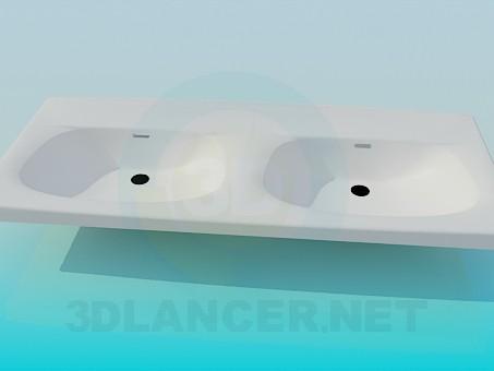 3d модель Двойной умывальник – превью