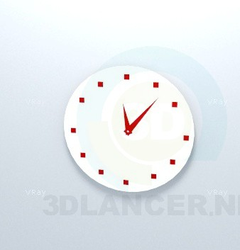 3d model Wall clock Red - preview