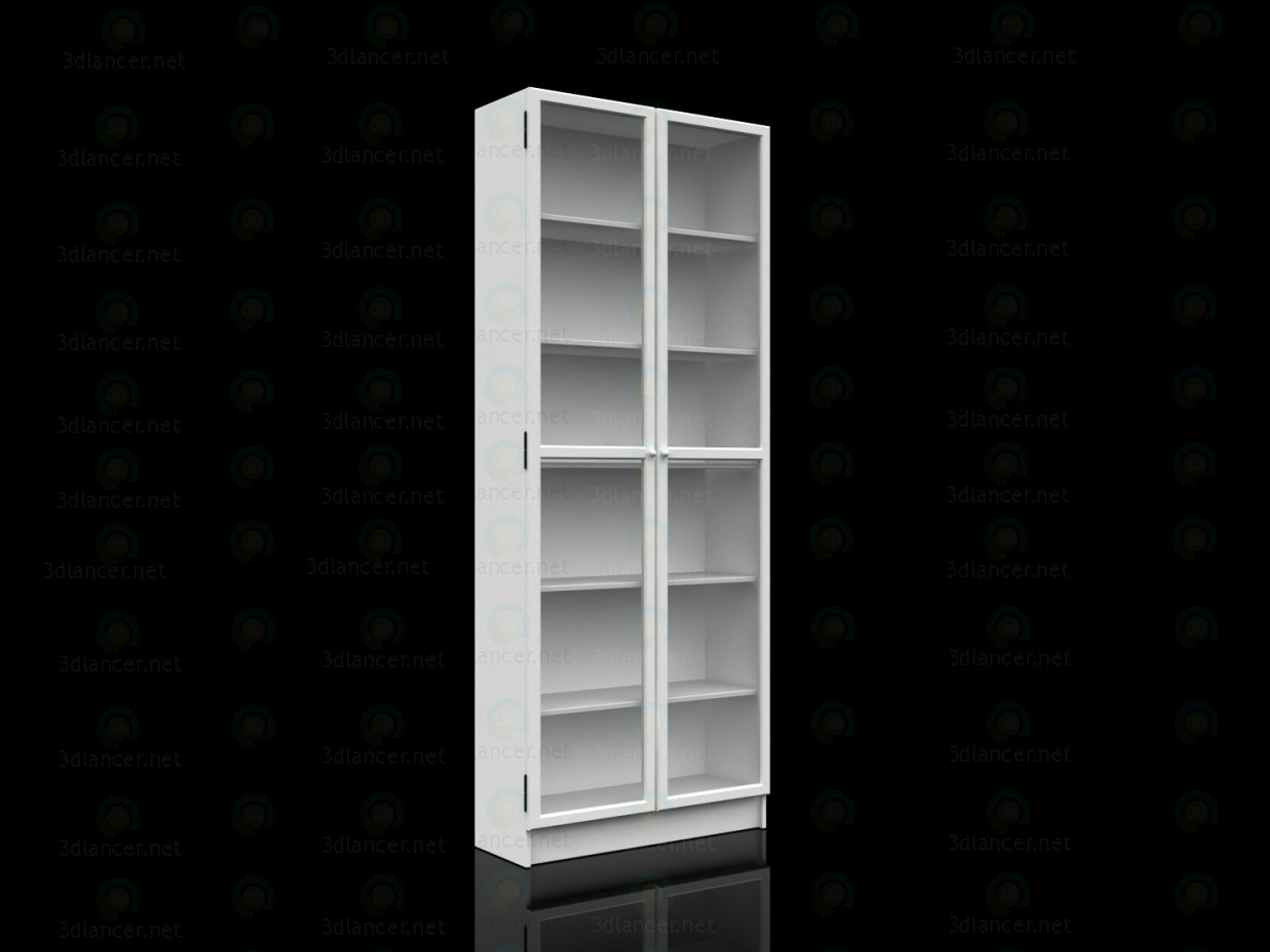 3d model Ikea Bookcase with doors BILLY OKSBERG - preview