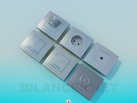 3d модель Розетки, выключатели – превью