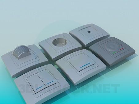 modelo 3D Tomas de corriente, interruptores - escuchar