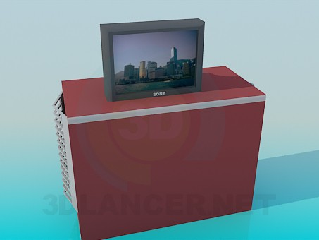 3d model Bedside table with TV SONY - preview