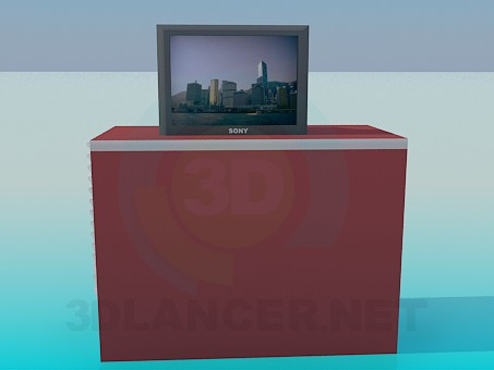 modelo 3D Mesita con TV SONY - escuchar