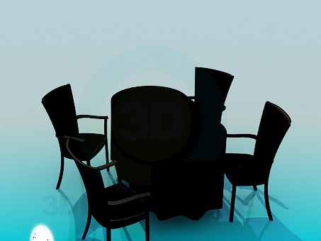 3d modeling Kitchen table and chairs model free download