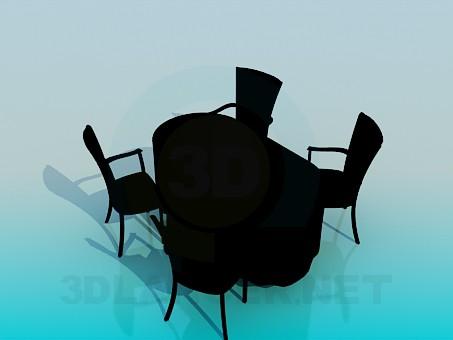 modelo 3D Sillas y mesa de la cocina - escuchar