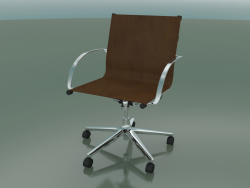 Swivel chair with armrests on 5 wheels, with leather upholstery (1211)