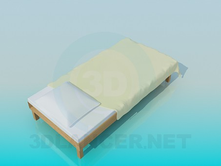 modelo 3D Cama sin cabecera de la cama - escuchar