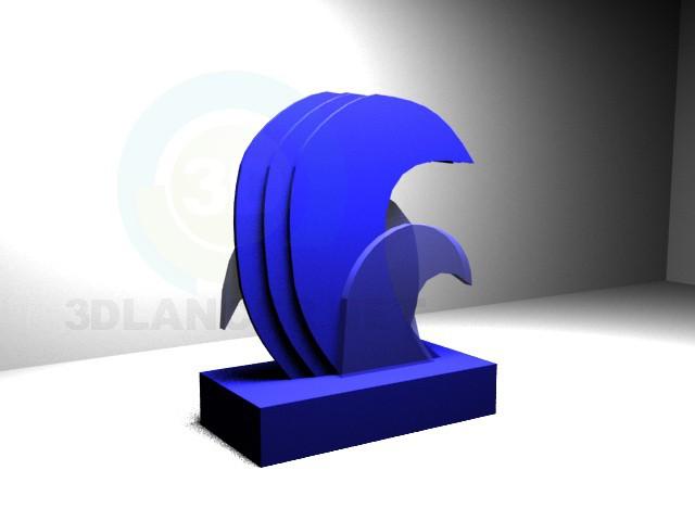 3d модель статуетка хвиля – превью