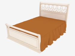 Double bed, light finish