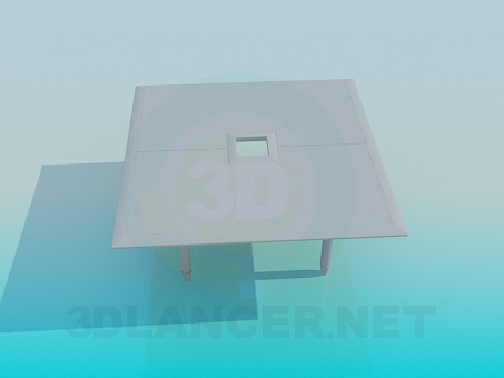 3d model Square table with hole - preview