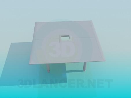 modelo 3D Mesa cuadrada con agujero - escuchar