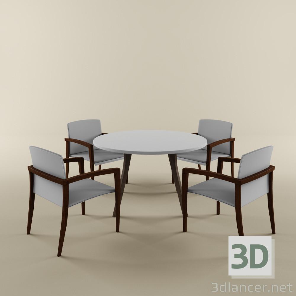 3 डी मॉडल तालिका + कुर्सियों - पूर्वावलोकन