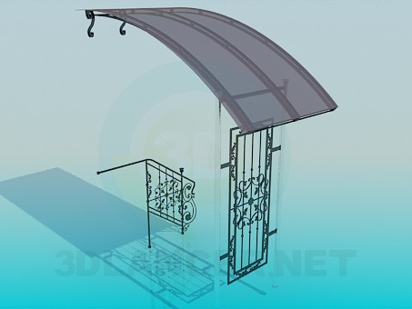 3d model Entrance and railing - preview