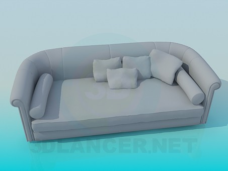 3d modeling Sofa with cushions and rollers model free download
