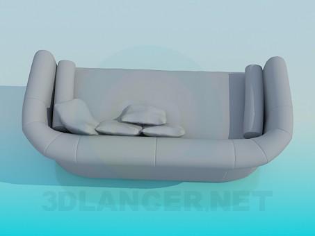 modelo 3D Sofá con cojines y rodillos - escuchar