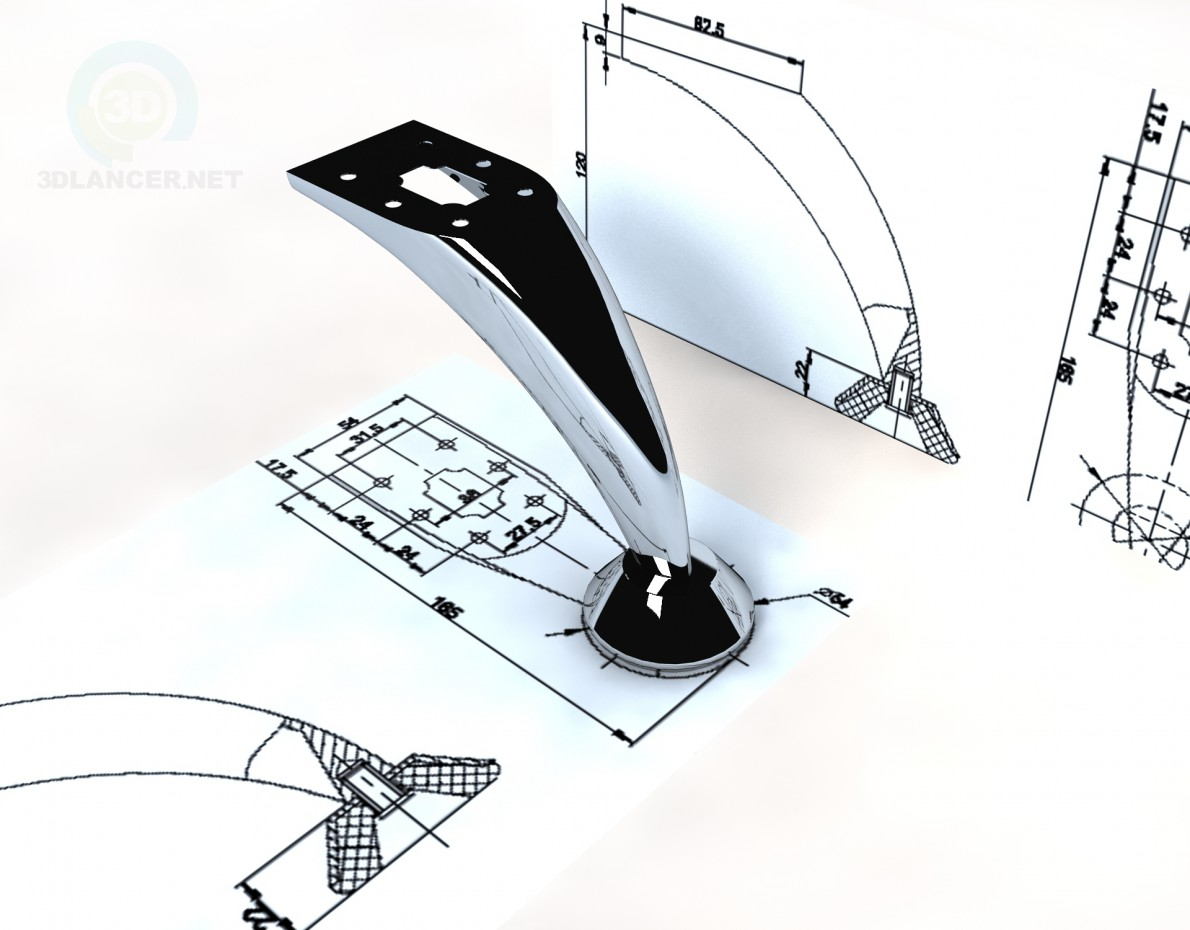 3d model Leg DZ 07 G2 Steel - preview