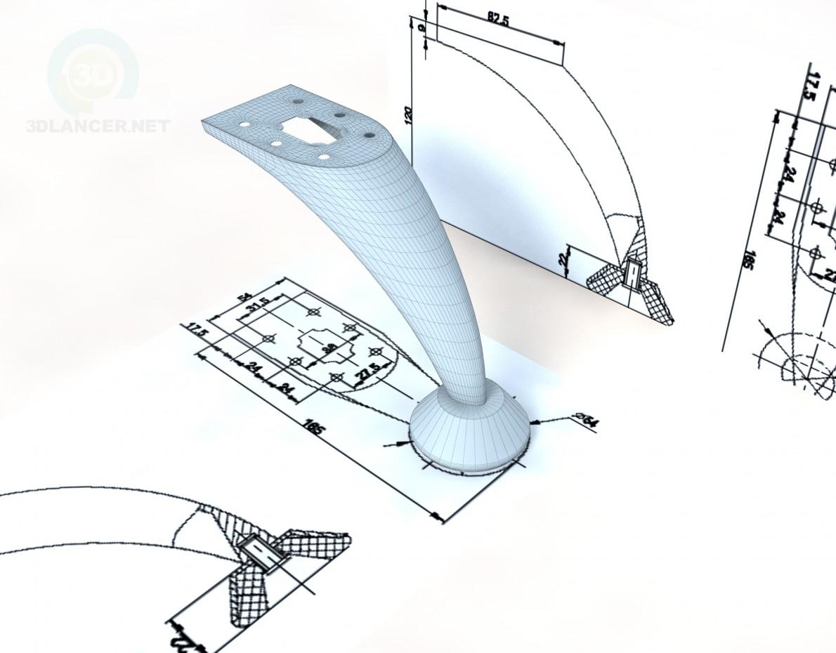 3d модель Ніжка DZ 07 G2 Steel – превью