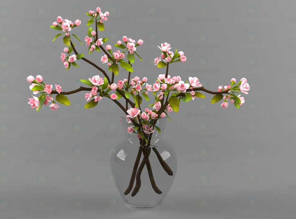 3d Цветы, ваза модель купить - ракурс