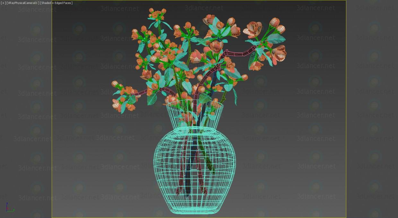 3d Flowers in vase model buy - render