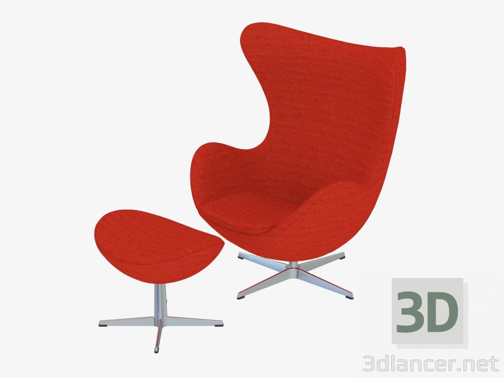 Faszinierend Sessel Mit Fußstütze Das Beste Von 3d Modell Fußstütze Ei - Vorschau