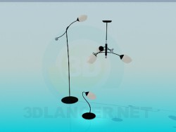 Chandelier, floor and table lamps