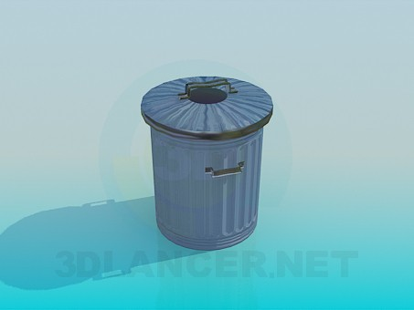 3d model Trash can with a lid - preview
