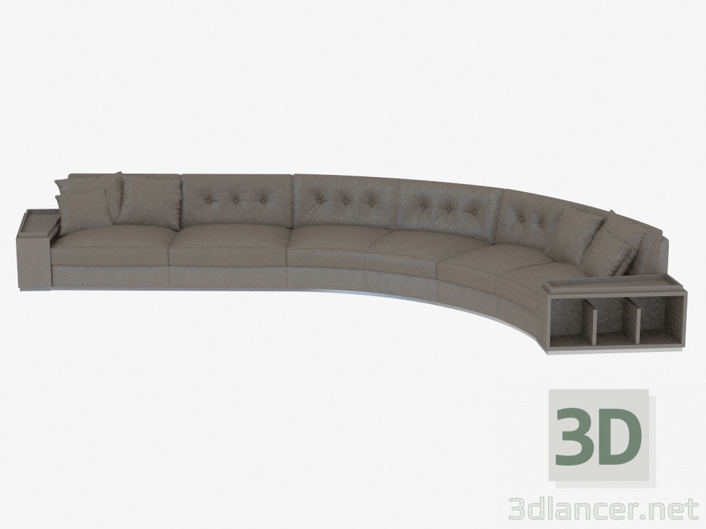 3d model modern leather sofa with shelves golden circus 545х278х83 preview